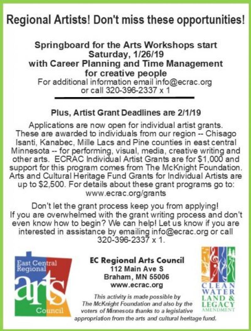 Ecrac ad for springboard and grants