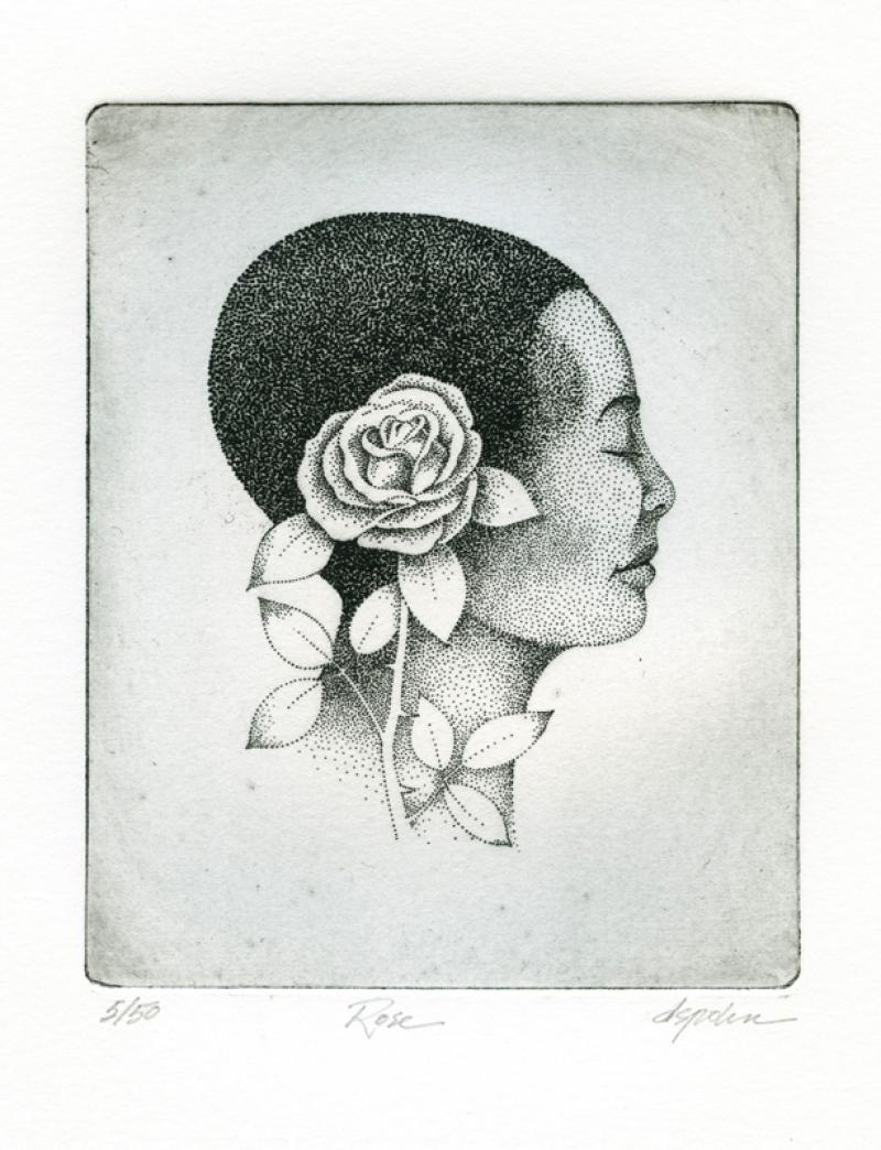 Rose, solar plate etching