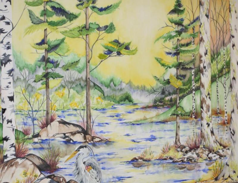 Fall Lake, a watercolor by Beth Anne Palmer of Cambridge, MN