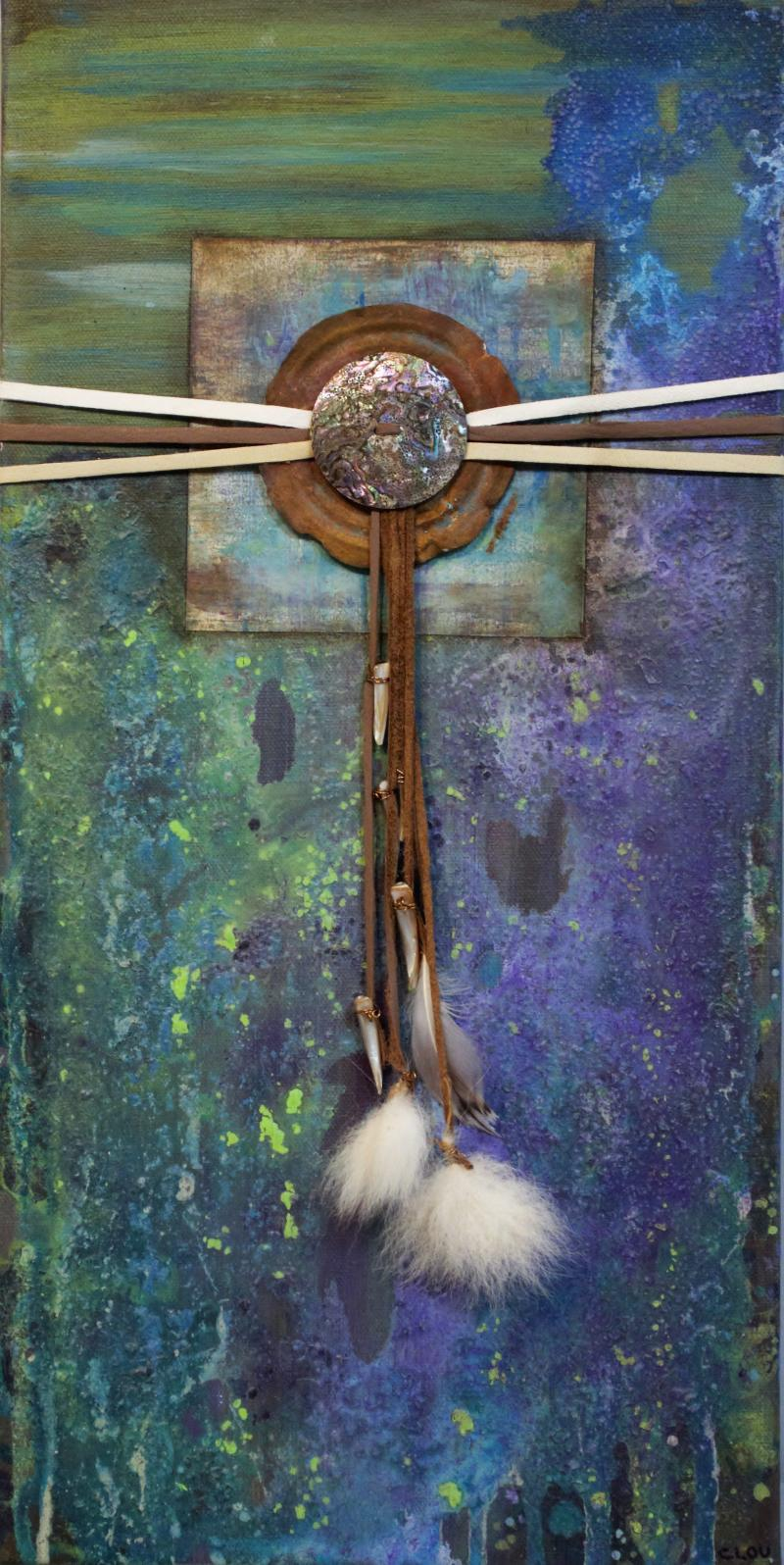 Solace, mixed media on canbas, natural & altered materials by Cindy Fuerstenberg of Pine City, MN