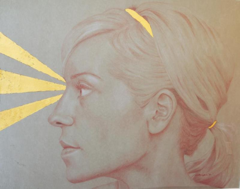 Sight, colored pencil with gold foil by Erica Belkholm of Mora, MN