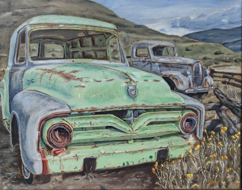 Fords in a Field by Bobby Olson - Merit Award, Painting Opaque