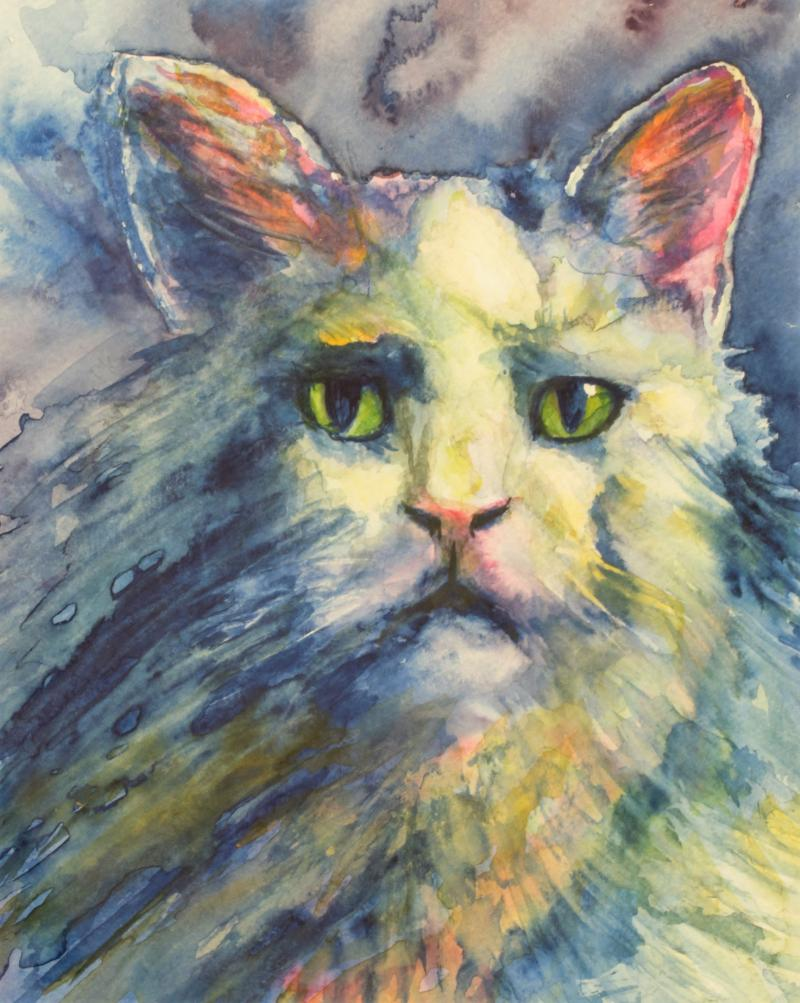 George, watercolor by Joy Paulzine of Dalbo, MN