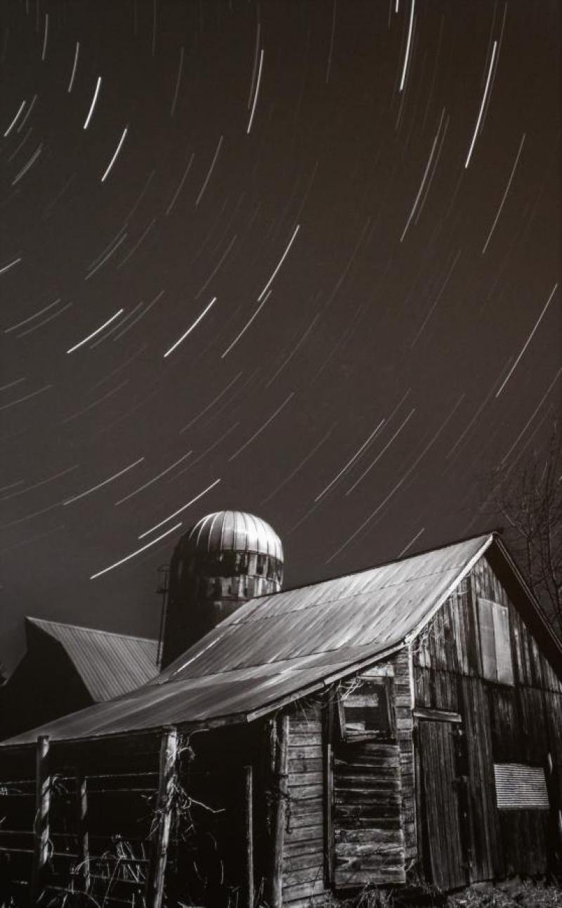 Star Trails Over the Barn, photography by Ryan Kroschel of Mora, MN