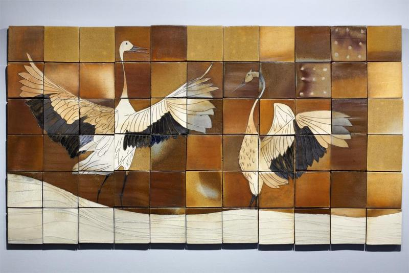 Sandhill Cranes on Winter Prairie Mural by Matthew Krousey