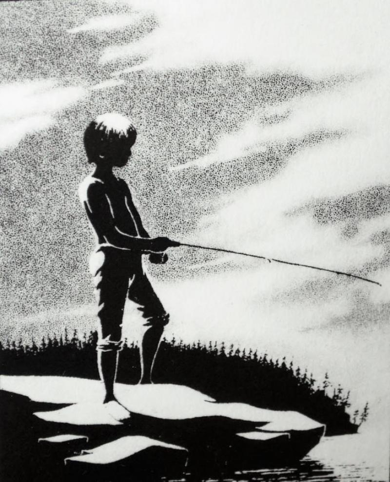 Gone Fishing, a solar plate etching by David Spohn of Lindstrom, MN