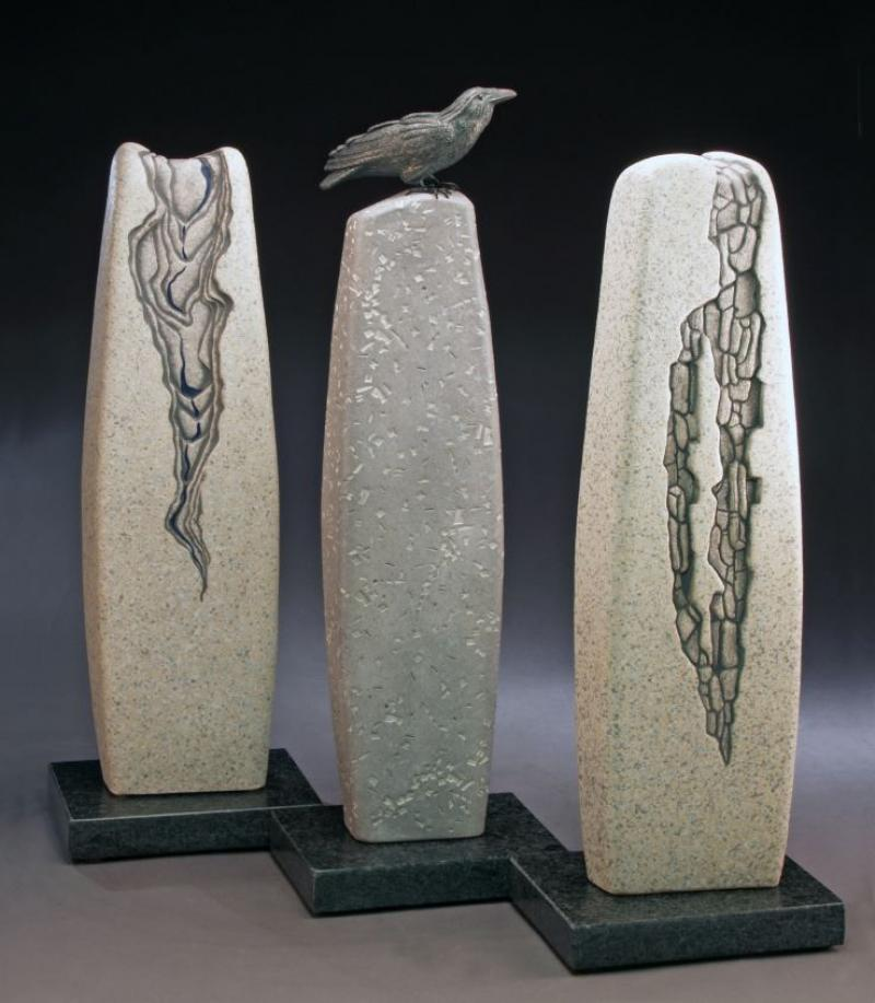 Three Sentinels and the Seer by Patricia Larson - Excellence and Purchase Award, 3D Non-Functional Sculpture