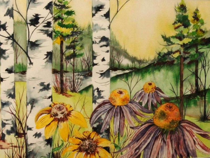 "Third Place Transparent Painting - ""Echinacea Purpurea"", by Beth Anne Palmer"