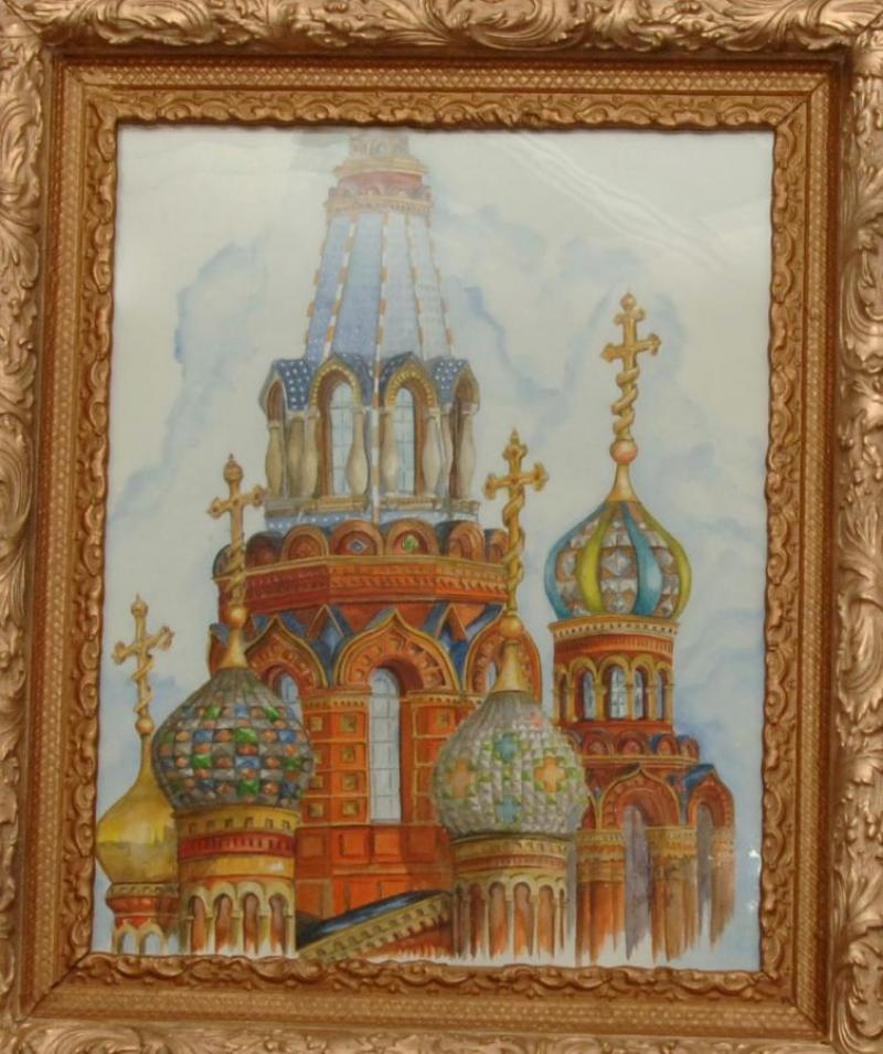 "Second Place Transparent Painting - ""Redeemer Church St Petersburg Russia"", by James Koppen of Pine City"