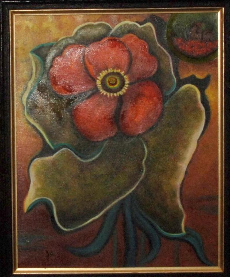 "Third Place Opaque Painting - ""Where Red Flowers Grow"", by Judy Weisenburger of Bock"