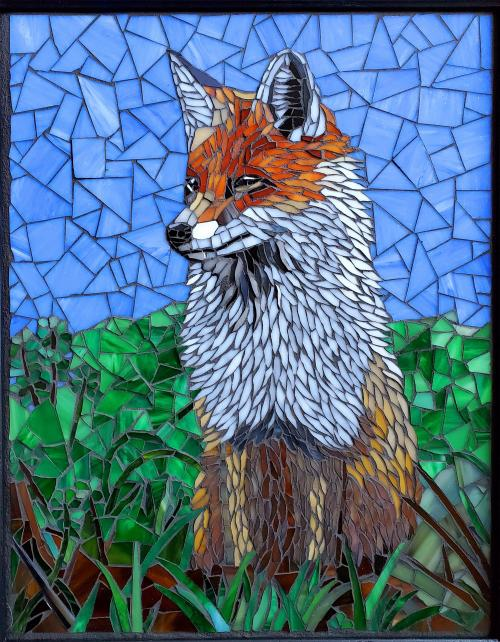 Red Fox Keeps Watch by Cathie Hendren - Glass mosaic