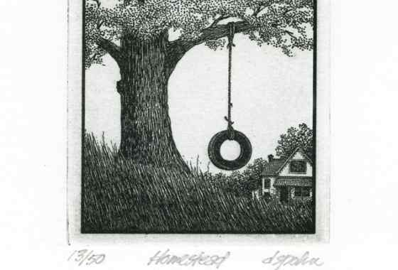 Homestead, solar plate etching