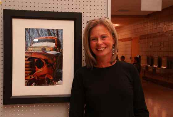 "DeeAnn Sibley of Cambridge with ""1948 Ford"""