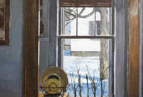 Kitchen Window in Winter, oil on canvas by Fred Anderson of Cambridge, MN