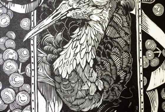 Isanti Beauty, relief linoleum hand pulled print by Nikki Schneider of Isanti, MN