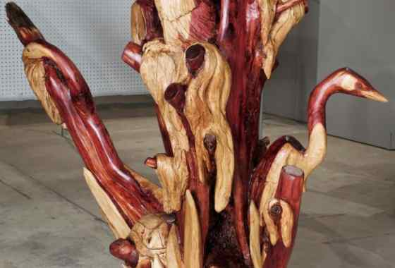 Swamp Life, cedar sculpture by Perry Carlson of Pine City, MN