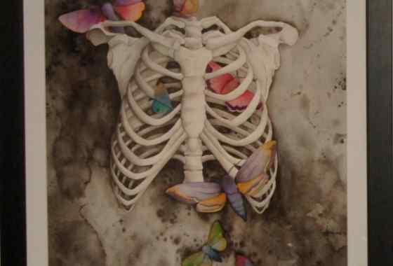 "First Place Transparent Painting - ""Body Parts & Butterflies: Ribcage"", by Terri Huro-Torgerson of Brook Park"